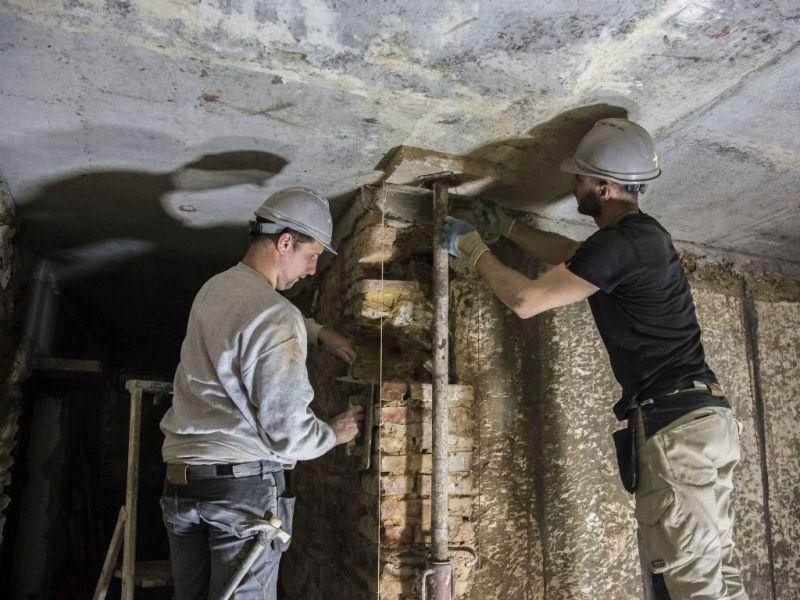 Restauration mur intérieur en briques